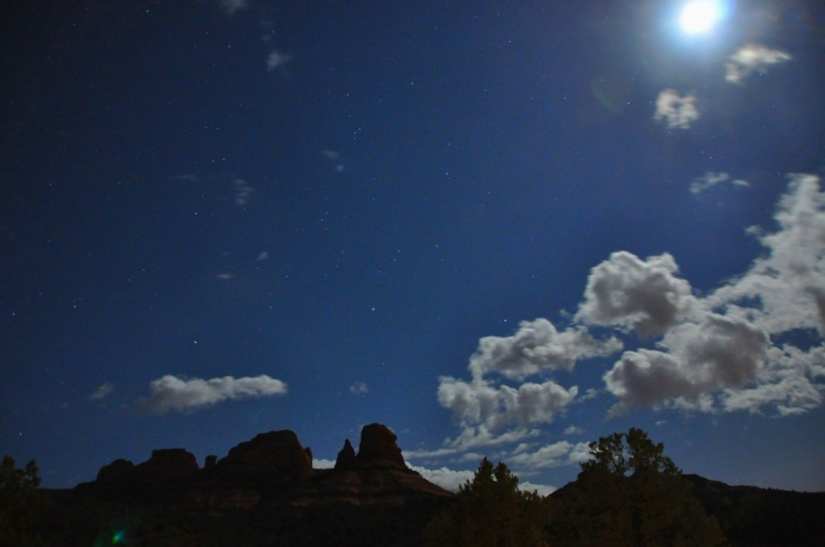 Moon, stars and clouds over Oak Creek Canyon. (c) Ulrich Pfaffenberger